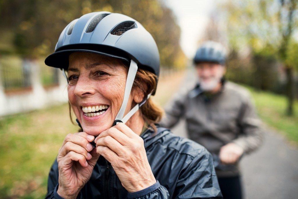 woman wearing a cycling helmet