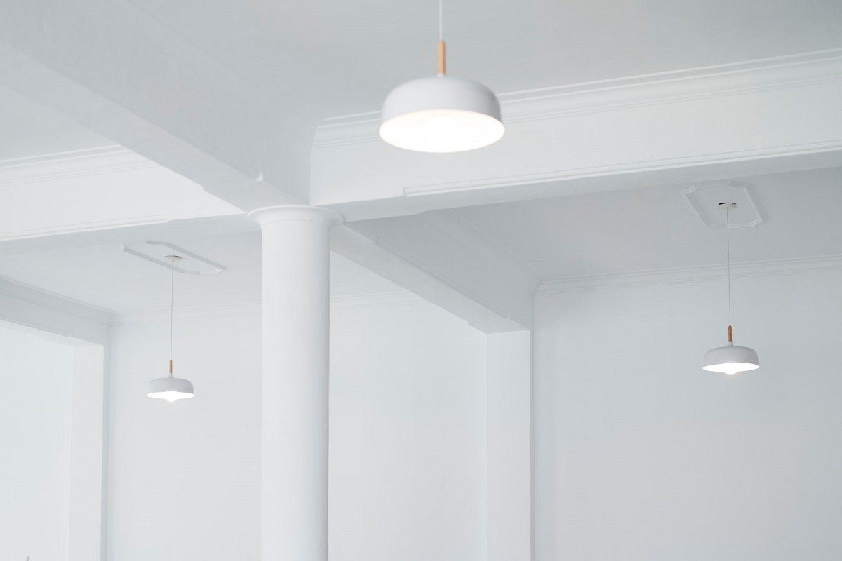 white ceiling with hanging lights