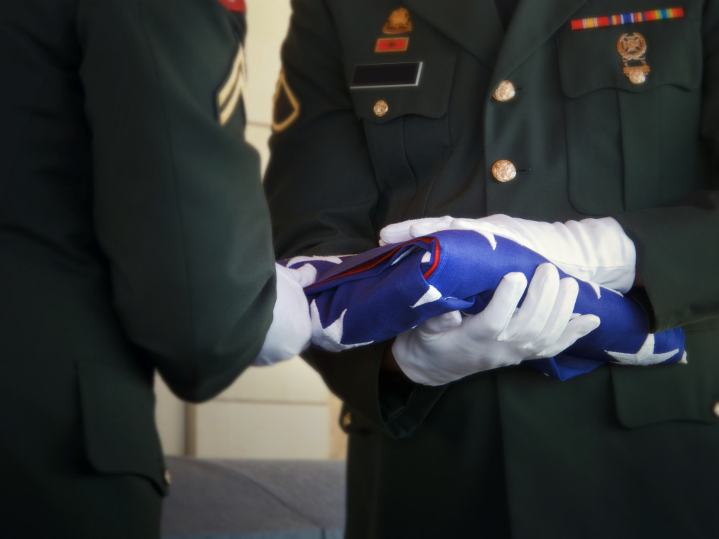 folding american flag in funeral